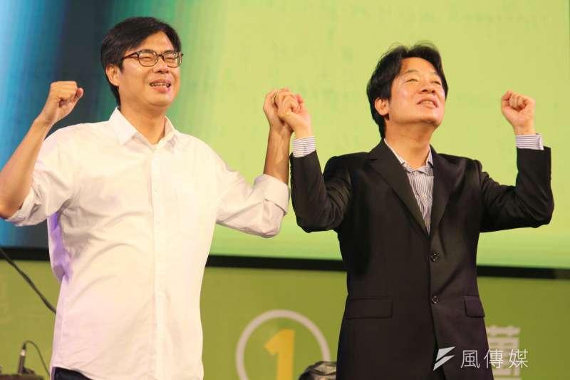 前立委沈富雄表示,副總統賴清德(右)防疫沒有角色,不如高雄市長陳其邁(左)。(資料照,黃信維攝)