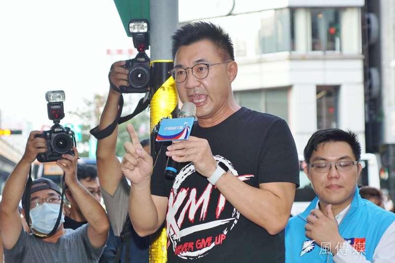國民黨主席江啟臣與縣市議會共同發起反美豬進口。(資料照片,盧逸峰攝)