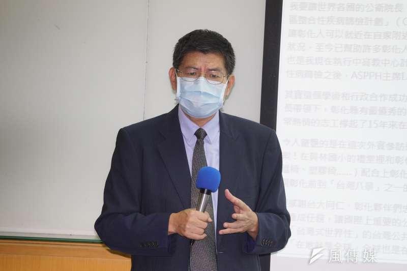 20200827-台大公衛前院長詹長權27日出席彰化縣抗體血清調查報告記者會。(盧逸峰攝)