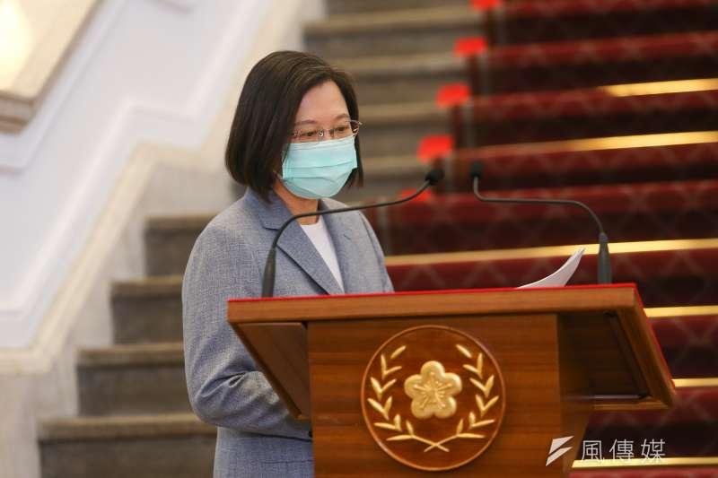 20200828-總統蔡英文28日針對國際經貿情勢發表談話,宣布開放美豬美牛。(顏麟宇攝)