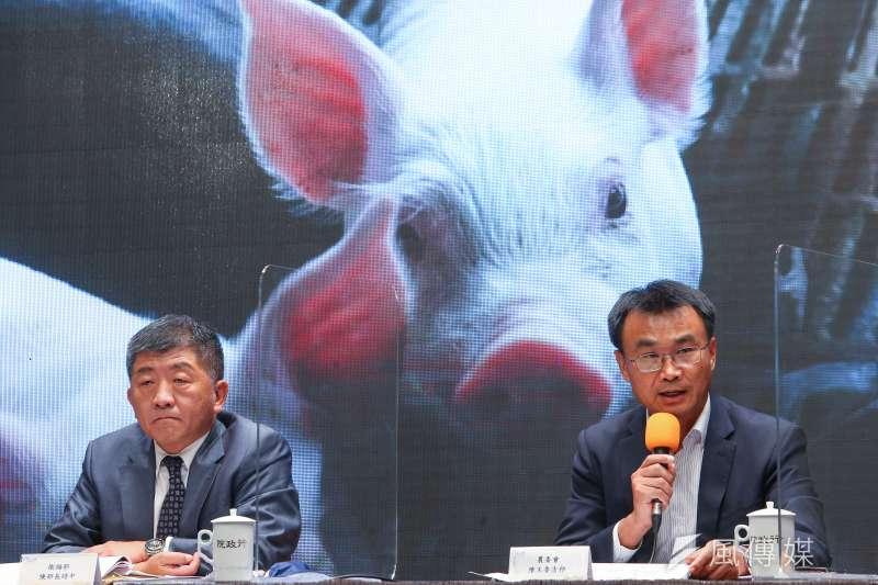 20200828-農委會主委陳吉仲(右)、衛福部長陳時中(左)28日針對開放美豬、美牛議題說明。(顏麟宇攝)
