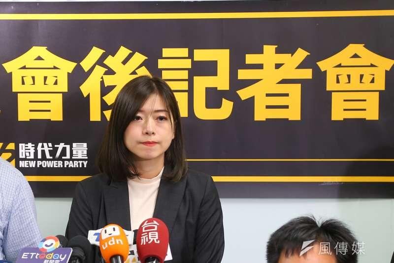 時代力量29日召開決策會議,並選出前副秘書長高鈺婷(見圖)為新任黨主席。(顏麟宇攝)