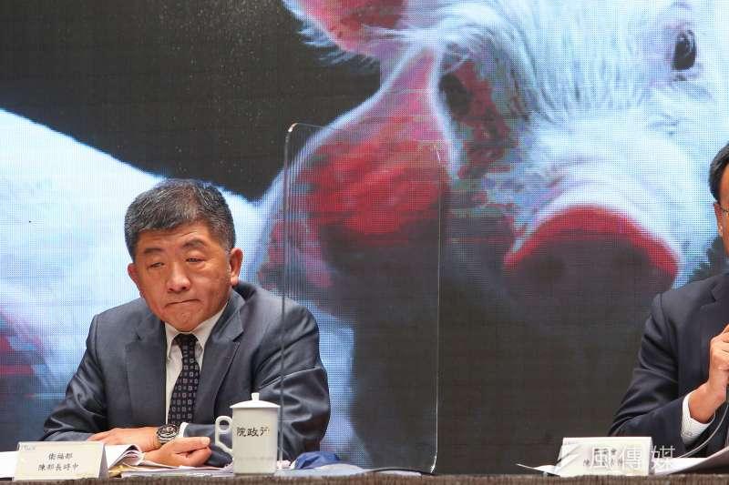 衛福部長陳時中說萊克多巴胺的美豬美牛安全,他可率先吃三個月。(顏麟宇攝)