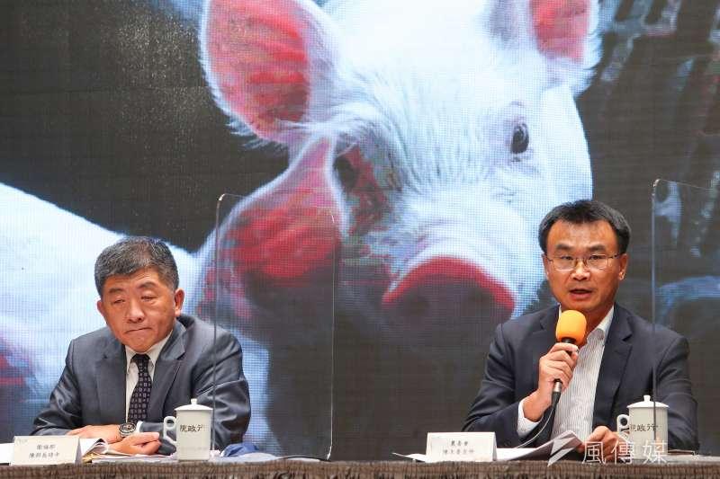 20200829-農委會主委陳吉仲(右)、衛福部長陳時中(左)針對開放美豬、美牛議題說明。(顏麟宇攝)