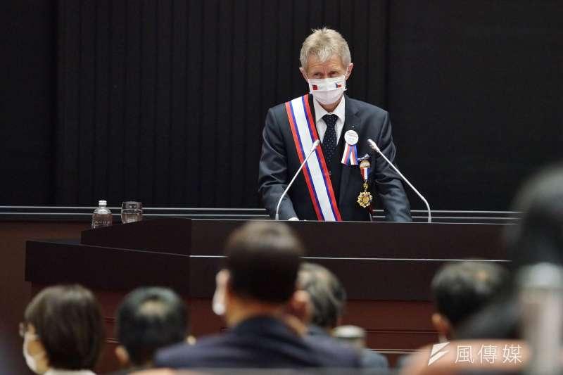 捷克參議院議長韋德齊1日率團到訪立院,並發表演說。(盧逸峰攝)