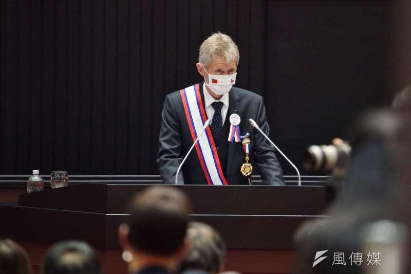 20200901-捷克參議院議長韋德齊1日率團到訪立院,並發表演說。(盧逸峰攝)