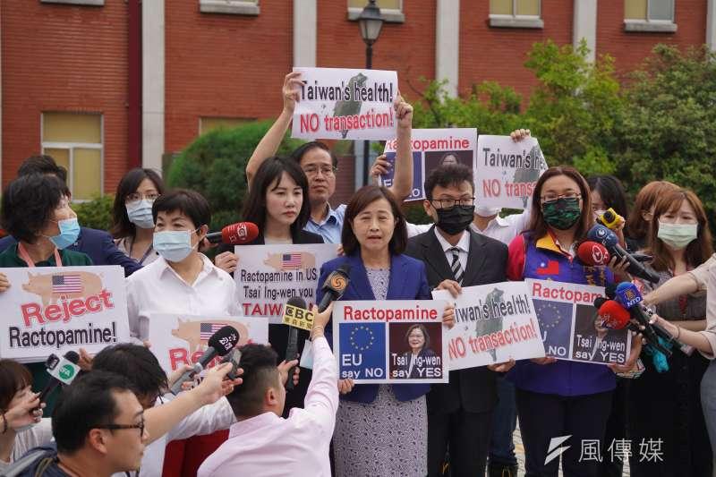 國民黨立委林奕華1日在議場前舉牌針對開放美豬進口議題表達抗議。(盧逸峰攝)