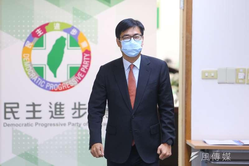 高雄市長陳其邁(見圖)27日晚攜手六都首長,向氣候與能源市長聯盟秘書長表達強烈抗議。(資料照,顏麟宇攝)