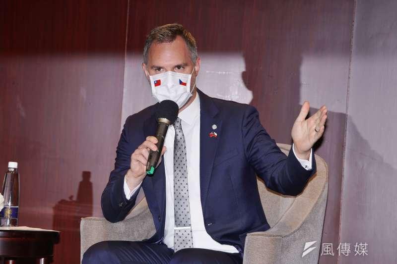 捷克布拉格市長賀吉普4日出席媒體見面會。(盧逸峰攝)