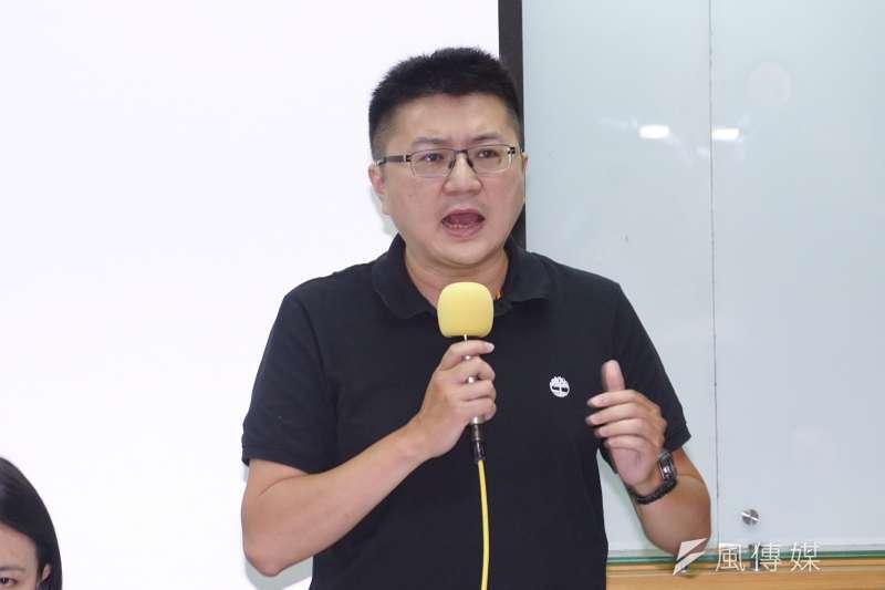 20200916-21青連線16日召開記者會評論國民黨取消派團參加海峽論壇,林明正發言。(盧逸峰攝)