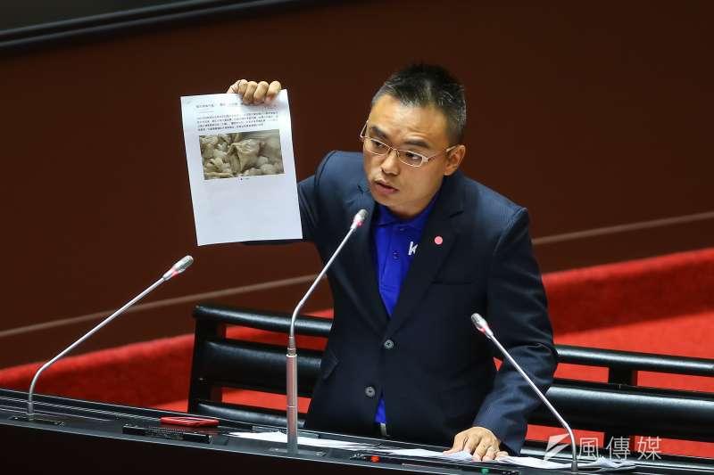 20200918-國民黨立委洪孟楷18日針對美豬及美牛進口於立院質詢。(顏麟宇攝)
