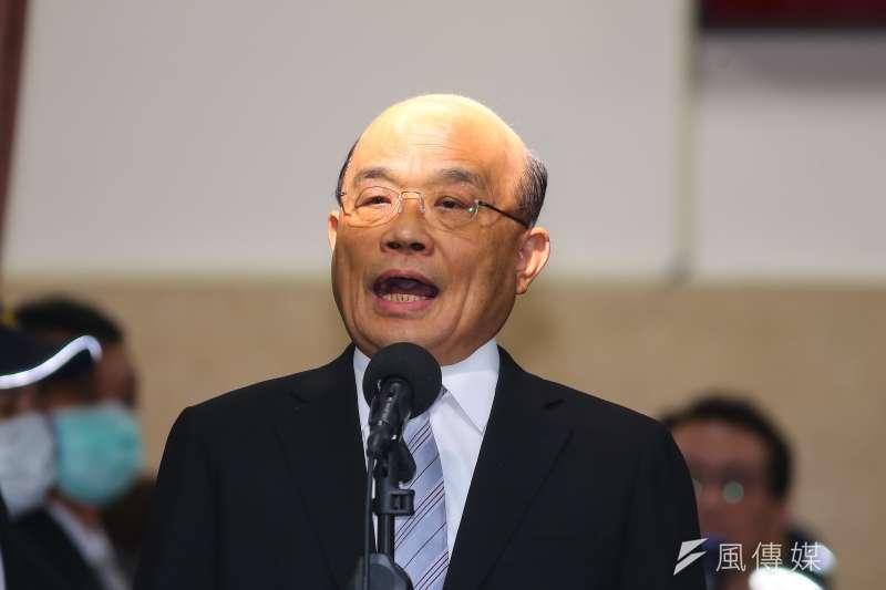 針對勞保年改議題,行政院長蘇貞昌(見圖)掛保證說,「政府若沒倒,勞保就不會倒」。(顏麟宇攝)