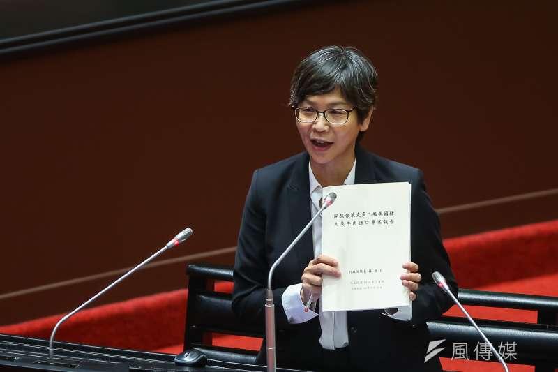 20200918-民眾黨立委蔡壁如18日針對美豬及美牛進口於立院質詢。(顏麟宇攝)