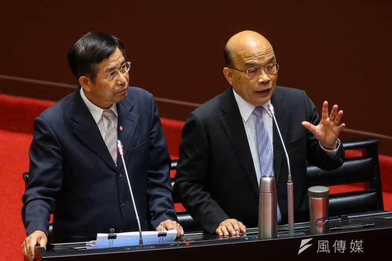 20200918-行政院長蘇貞昌18日針對美豬及美牛進口於立院備詢。(顏麟宇攝)