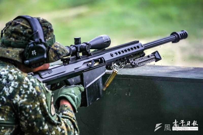 國軍21日實施「城鎮陣地變換與掩護射擊」狙擊競賽。圖為M107A1重型狙擊槍。(取自青年日報)