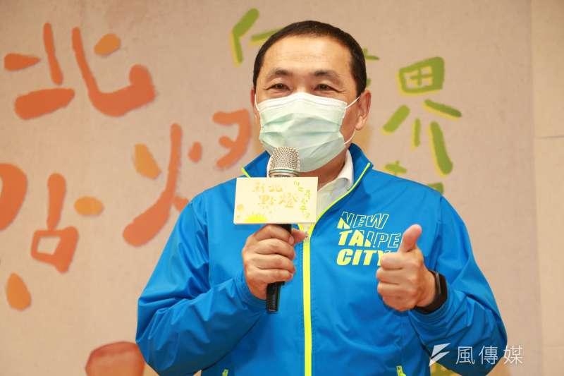 市長侯友宜謝謝台北願意一起來辦歡樂耶誕城,讓孩子們開心。(圖/李梅瑛攝)
