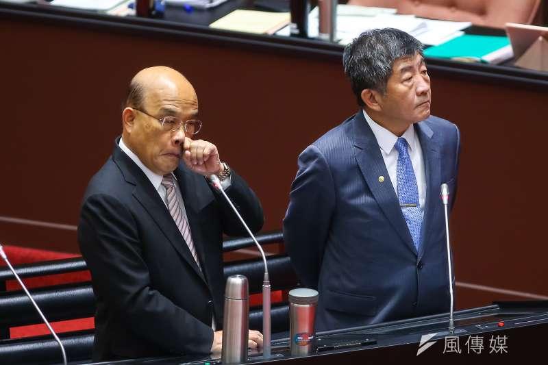 20200925-立法院長蘇貞昌、衛福部長陳時中25日於立院備詢。(顏麟宇攝)