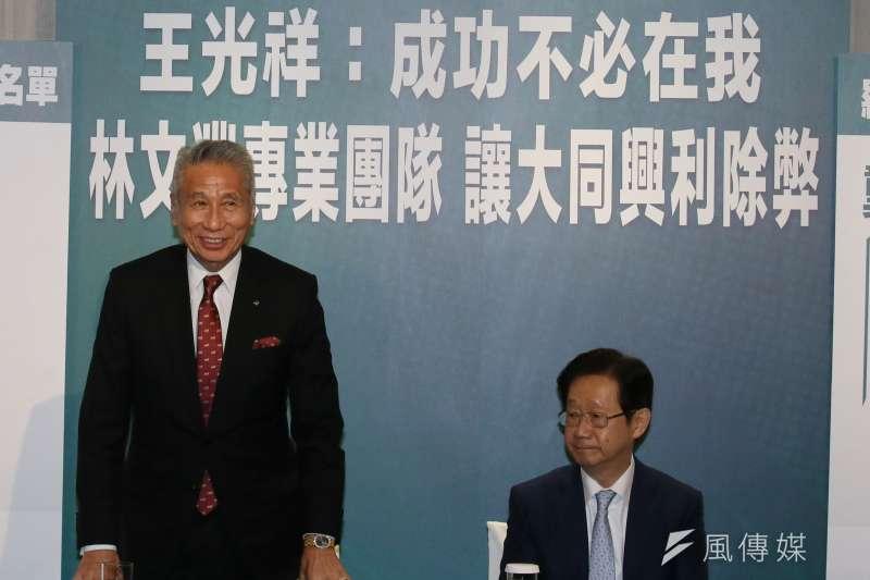 2020.09.28-大同公司股東王光祥(左)與董事提名人林文淵(右)28日共同舉行記者會。(柯承惠攝)