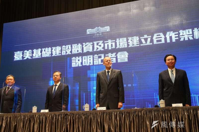 行政院今天宣布,台美雙方已簽署「台美基礎建設融資及市場建立合作架構」。工商團體表示,新南向基礎建設商機很大,能夠參與其中,對業者國際化是很好的機會。(顏麟宇攝)