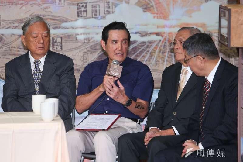 202001001-前台北市長馬英九(中)1日出席「臺北設市百年交流分享」。(顏麟宇攝)