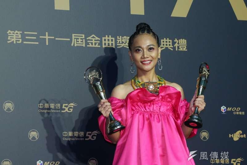 第31屆金曲獎中,阿爆拿下最佳年度歌曲大獎。(顏麟宇攝)