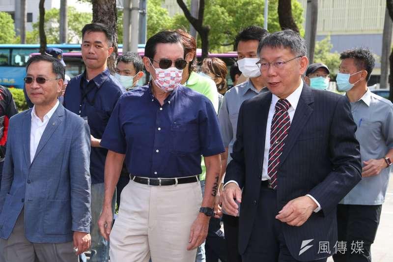 柯P(前右)透過與馬英九(前中)和解,爭取藍營選民支持。(顏麟宇攝)