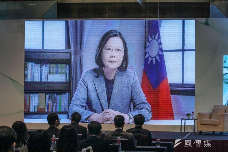 台灣亞洲交流基金會8日舉辦「2020年玉山論壇:亞洲創新與進步對話 」開幕,總統蔡英文以視訊方式致詞。(蔡親傑攝)