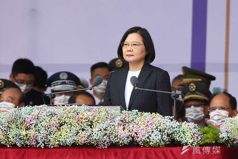 總統蔡英文10日出席中華民國109年國慶典禮。(顏麟宇攝)