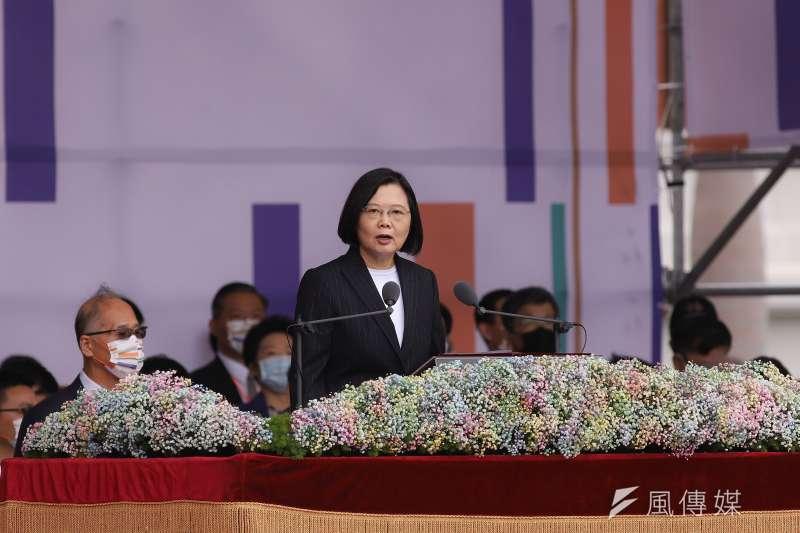 109年國慶典禮,總統蔡英文致詞。(資料照,陳品佑攝)