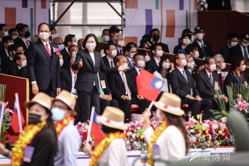 20201010-總統蔡英文10日上午出席總統府國慶典禮。(顏麟宇攝)