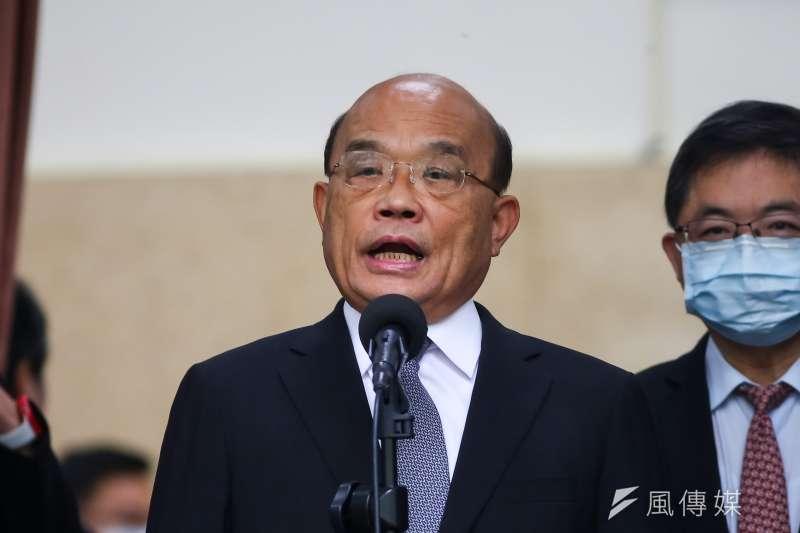 針對中國指控台諜案,閣揆蘇貞昌直言,中國老是用這種莫須有的人、莫須有的事來誣蔑,同時也製造恐怖,其實不像個大國的行為。(顏麟宇攝)