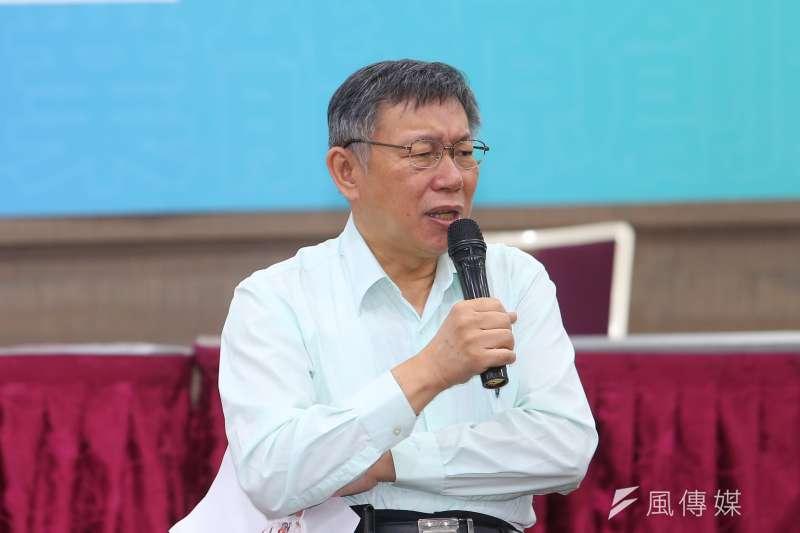 針對中天新聞台換照案,台北市長、民眾黨主席柯文哲21日,呼籲民進黨依法行政並自我保重。(資料照,顏麟宇攝)