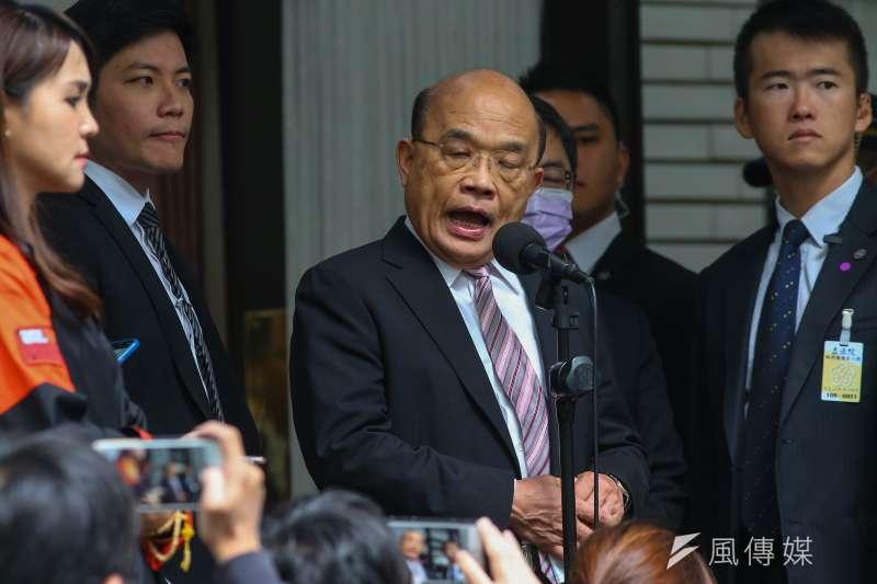 針對我駐斐濟代表處人員遭中方毆傷,行政院長蘇貞昌20日表示,會將相關證據訴諸國際。(顏麟宇攝)