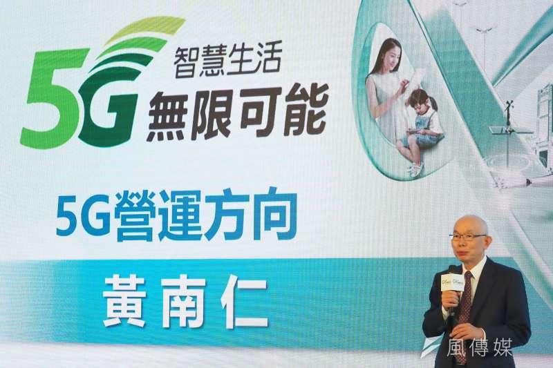 20201022-亞太電信今日舉辦5G開台啟動記者會,總經理黃南仁在記者會上致詞。(林瑞慶 攝)