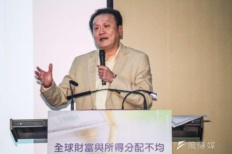 中經院舉行「全球財富與所得分配不均」研討會,中研院院士朱敬一發表專題演講。(蔡親傑攝)