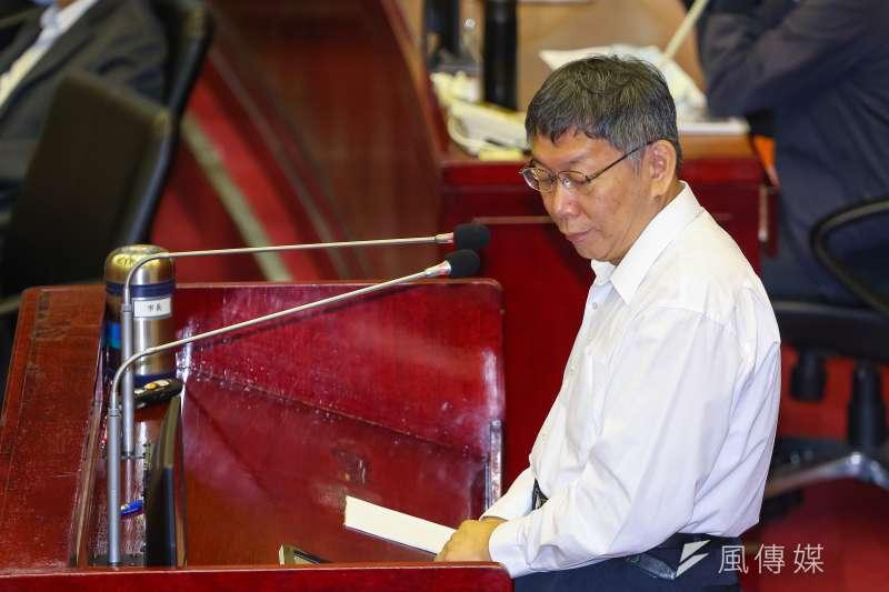 台北市長柯文哲23日於市議會備詢,針對流感疫苗議題進行說明。(顏麟宇攝)