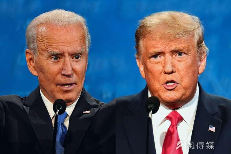 最終回總統辯論在10月22日落幕,民主黨參選人拜登(Joe Biden,圖左)與共和黨參選人川普(Donald Trump,圖右)的表現在民調中呈現一定差距。(美聯社/風傳媒後製)