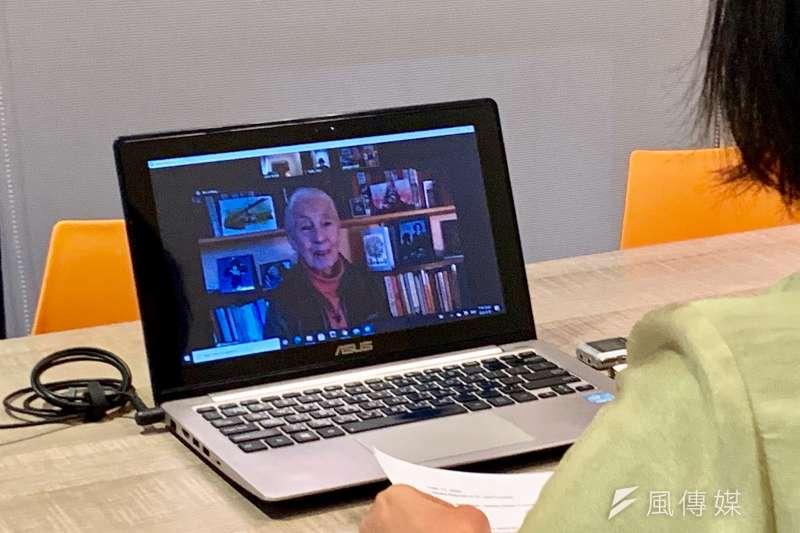 英國靈長類動物學者珍古德接受風傳媒視訊專訪表示,明年將在台灣開辦珍古德小學。(鄭力瑋攝)