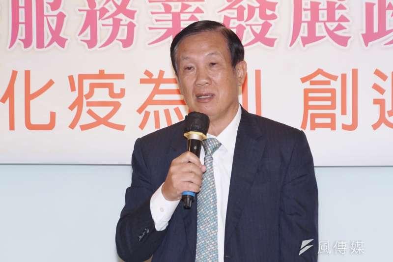 全國商總主席賴正鎰今(23日)表示,房地合一與囤房稅絕對不是抑制房價的最終解藥。(盧逸峰攝)