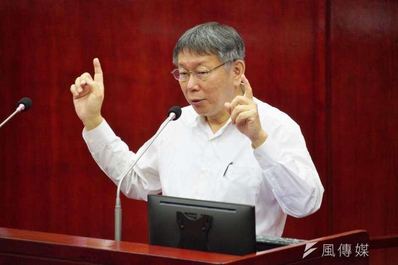 20201029-台北市長柯文哲29日於市議會備詢,多位市議員問到萊豬爭議。(盧逸峰攝)