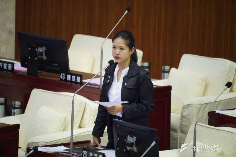 20201029-台北市議員林亮君29日於市議會質詢。(盧逸峰攝)