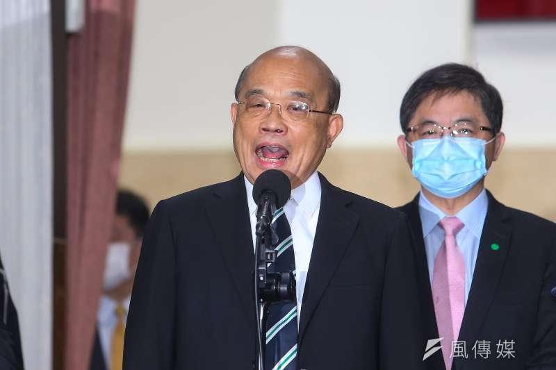 行政院長蘇貞昌3日出席立院院會時接受媒體訪問。(顏麟宇攝)