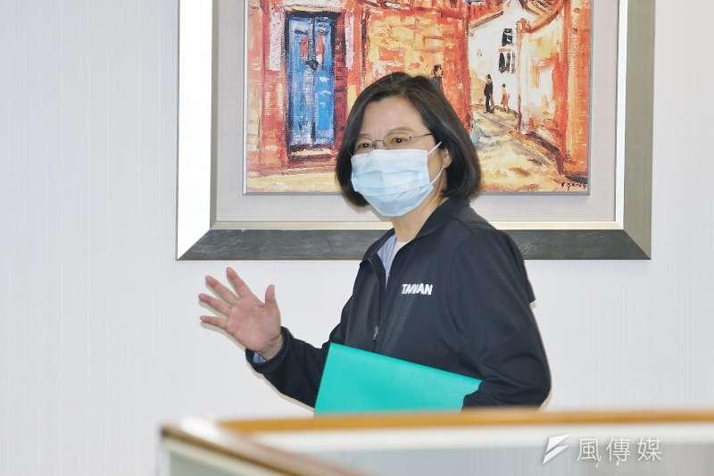 20201104-民進黨主席、總統蔡英文4日出席民進黨中常會。(盧逸峰攝)