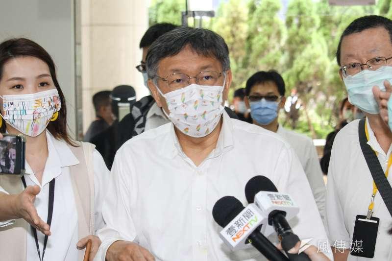 台北市長柯文哲親自到行政院建議萊豬檢驗4大方案。(資料照片,蔡親傑攝)