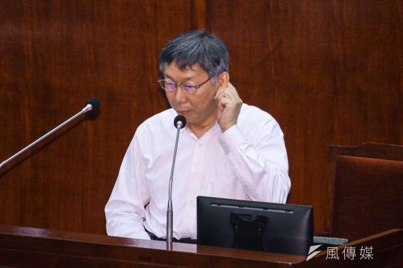 台北市長柯文哲今日赴市議會備詢,被要求對目前的自己打分數,其中領導統御部分,柯文哲自評60分。(蔡親傑攝)