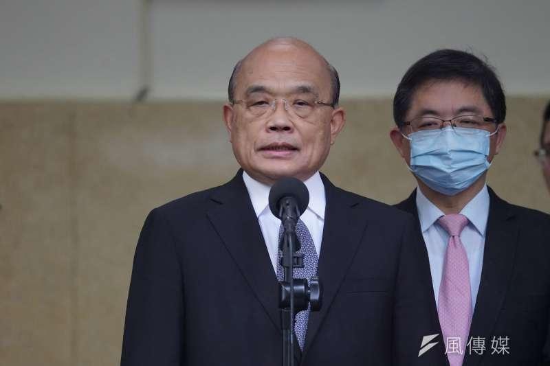 對於台灣東洋疫苗談判破局,行政院長蘇貞昌13日表示,最後就算沒有成局,也不要怪人家。(資料照,盧逸峰攝)