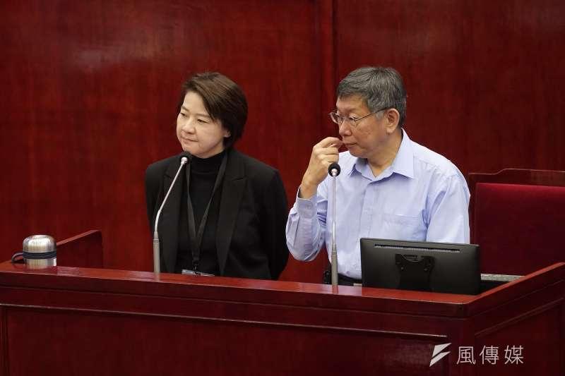 台北市長柯文哲、副市長黃珊珊10日出席市政總質詢。(盧逸峰攝)