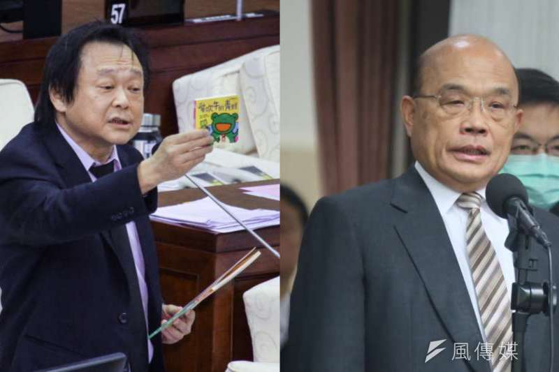 台北市議員王世堅(左起)近日屢屢批評行政院長蘇貞昌。(資料照,蔡親傑、柯承惠攝/合成:風傳媒)