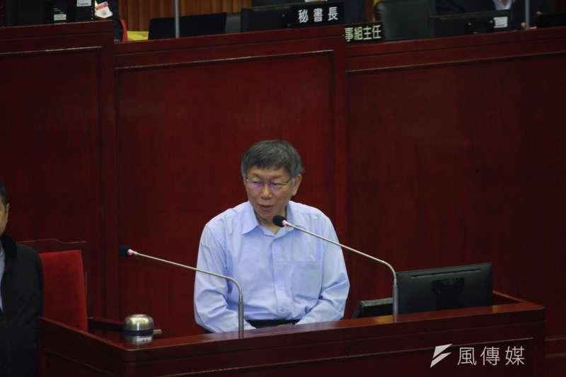 台北市長柯文哲(見圖)今日至市議會備詢。(方炳超攝)
