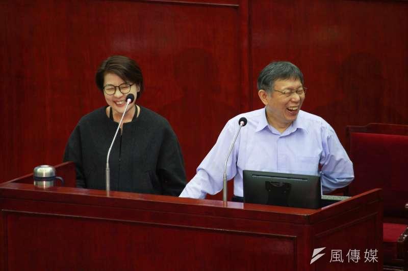 台北市長柯文哲(左起)、副市長黃珊珊13日於台北市議會備詢。(方炳超攝)